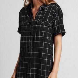Current/Elliot Black Windowpane Shirt Dress